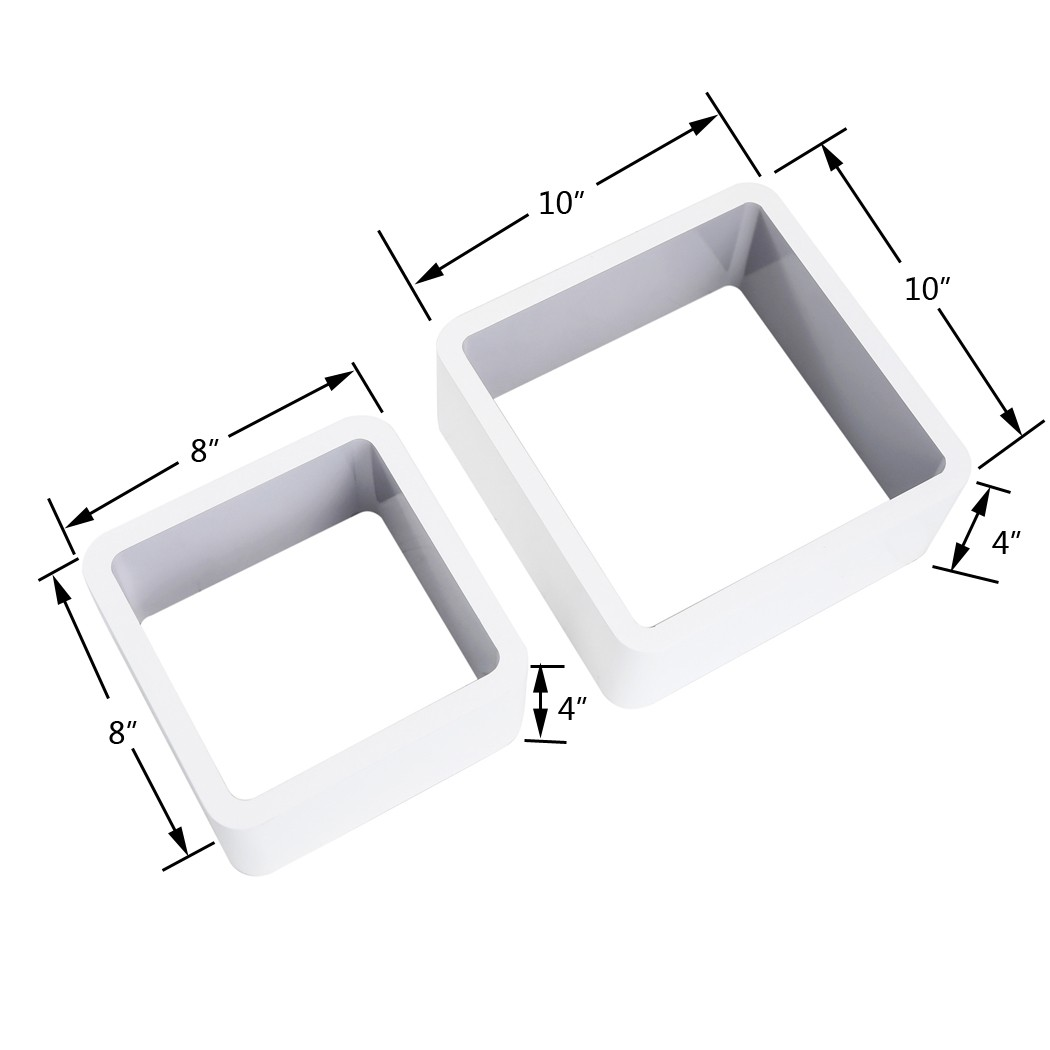 Wood Wall Shelves for Home Decoration White+Blue. Homewell Set of 2 Cube Floating Shelves Storage Display Rack